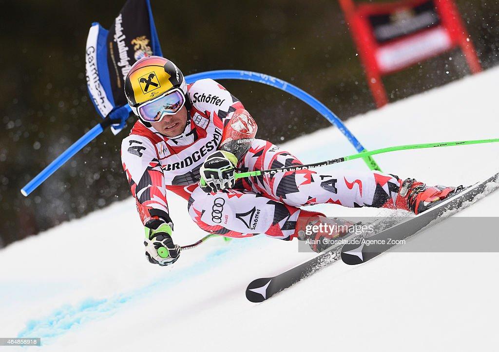 Marcel Hirscher of Austria takes 1st place during the Audi FIS Alpine Ski World Cup Men's Giant Slalom on March 01 2015 in GarmischPartenkirchen...