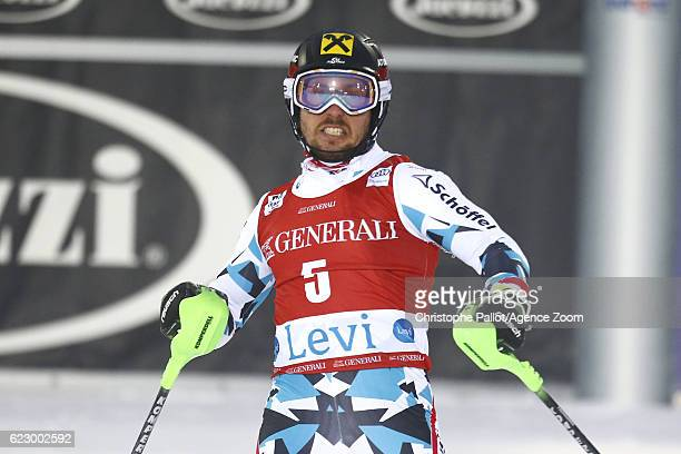 Marcel Hirscher of Austria takes 1st place during the Audi FIS Alpine Ski World Cup Men's Slalom on November 13 2016 in Levi Finland