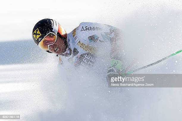 Marcel Hirscher of Austria takes 1st place during the Audi FIS Alpine Ski World Cup Men's Giant Slalom on December 18 2016 in Alta Badia Italy