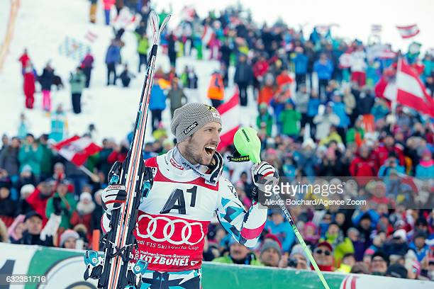 Marcel Hirscher of Austria takes 1st place during the Audi FIS Alpine Ski World Cup Men's Slalom on January 22 2017 in Kitzbuehel Austria