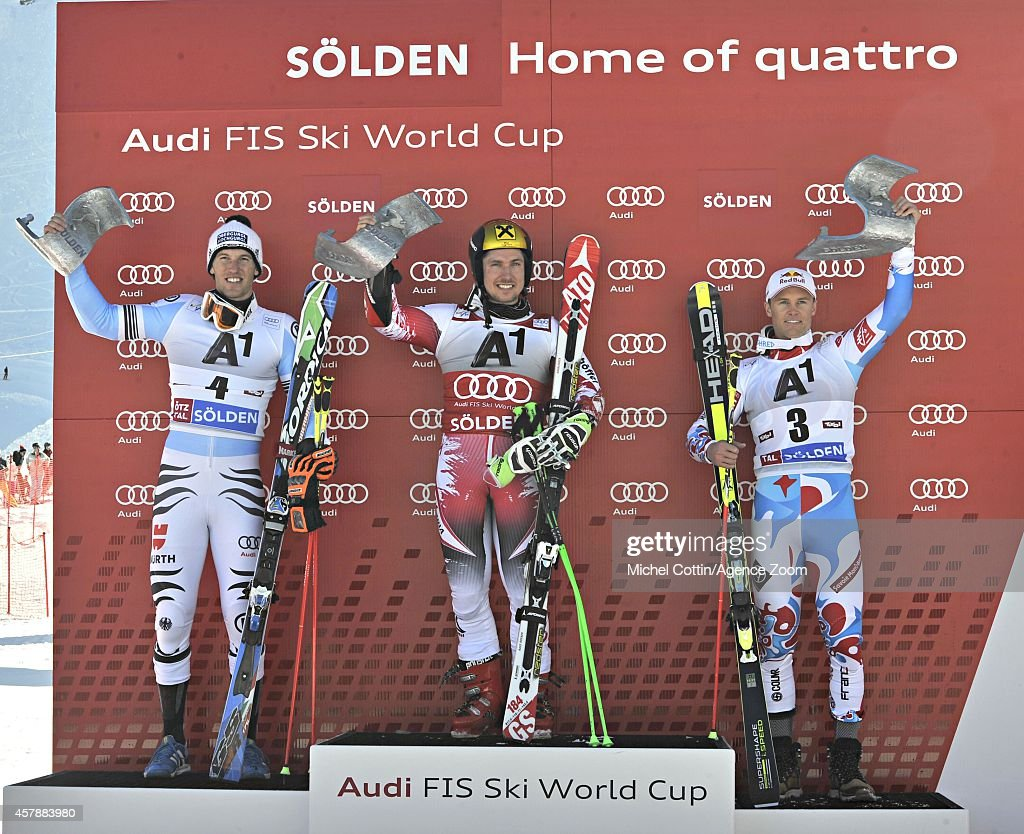Marcel Hirscher of Austria takes 1st place Fritz Dopfer of Germany takes 2nd place Alexis Pinturault of France takes 3rd place during the Audi FIS...