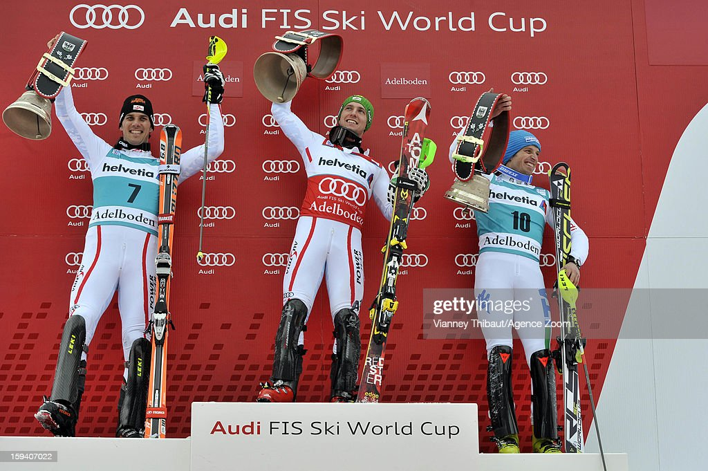 Marcel Hirscher of Austria takes 1st place Mario Matt of Austria takes 2nd place Manfred Moelgg of Italy takes 3rd place during the Audi FIS Alpine...