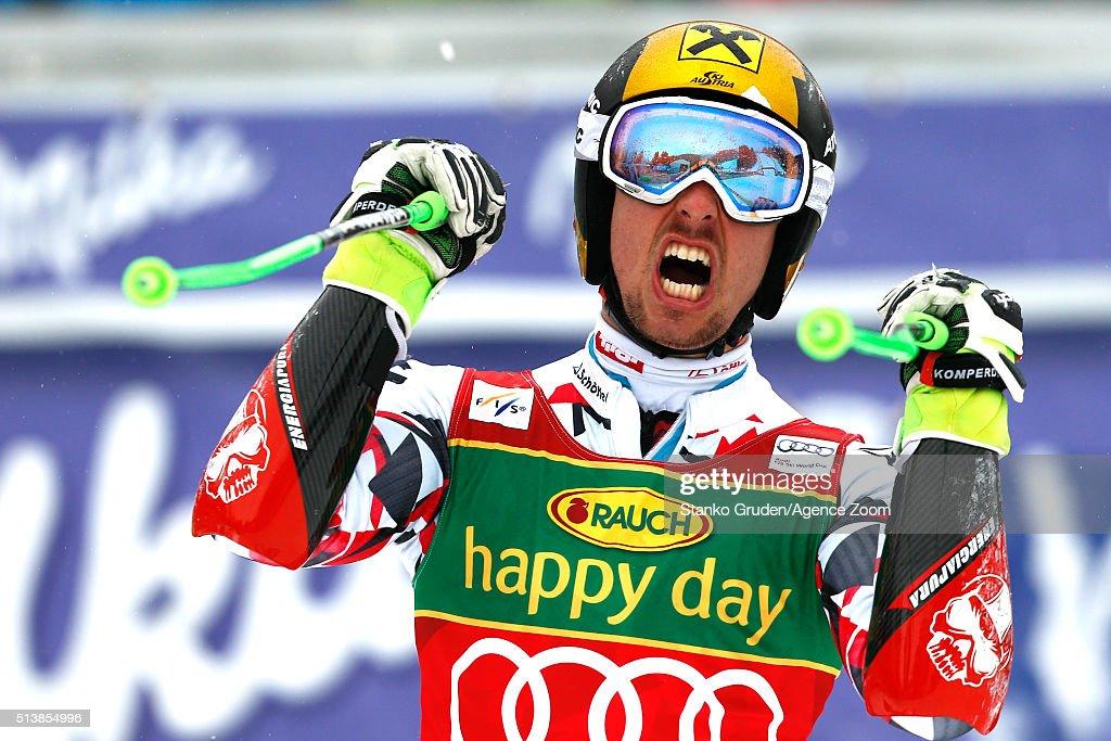 Marcel Hirscher of Austria takes 1st placeduring the Audi FIS Alpine Ski World Cup Men's Giant Slalom on March 05 2016 in Kranjska Gora Slovenia