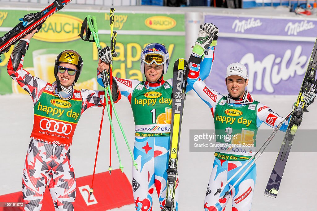 Marcel Hirscher of Austria takes 2nd place Alexis Pinturault of France takes 1st placeThomas Fanara of France takes 3rd place during the Audi FIS...