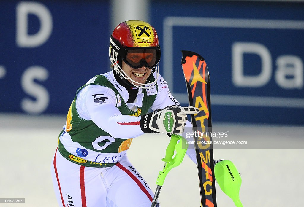 Marcel Hirscher of Austria takes 2nd place during the Audi FIS Alpine Ski World Cup Men's Slalom on November 11, 2012 in Levi, Finland.