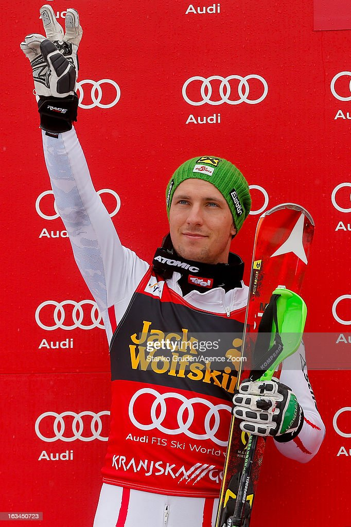 <a gi-track='captionPersonalityLinkClicked' href=/galleries/search?phrase=Marcel+Hirscher&family=editorial&specificpeople=4784559 ng-click='$event.stopPropagation()'>Marcel Hirscher</a> of Austria takes 2nd place during the Audi FIS Alpine Ski World Cup Men's Slalom on March 10, 2013 in Kranjska Gora, Slovenia.