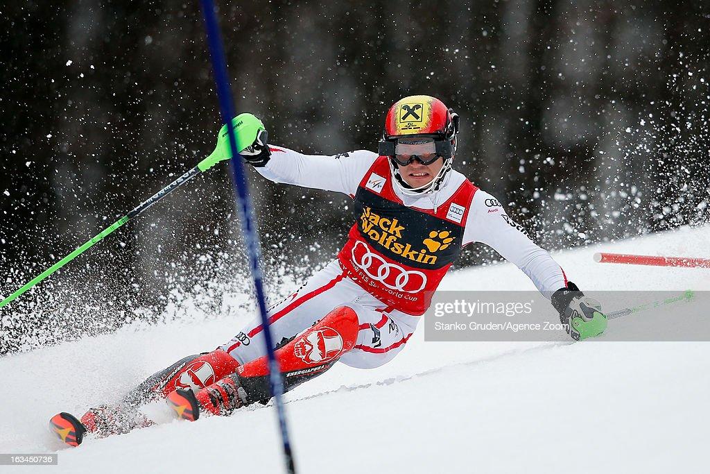 Marcel Hirscher of Austria takes 2nd place during the Audi FIS Alpine Ski World Cup Men's Slalom on March 10, 2013 in Kranjska Gora, Slovenia.