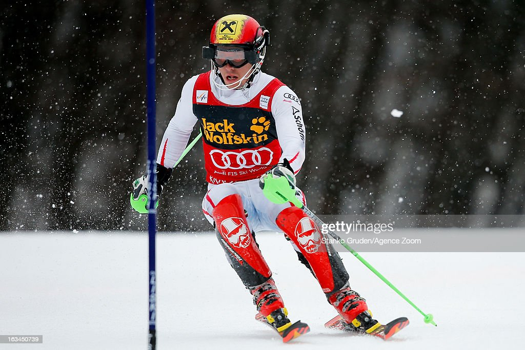 Marcel Hirscher of Austria takes 2nd place during the Audi FIS Alpine Ski World Cup Men's Slalom on March 10, 2013 in Kranjska Gora, Slovenia.