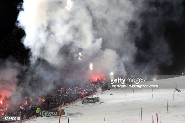 Marcel Hirscher of Austria takes 2nd place during the Audi FIS Alpine Ski World Cup Men's Slalom on January 28 2014 in Schladming Austria