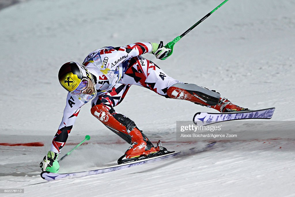 <a gi-track='captionPersonalityLinkClicked' href=/galleries/search?phrase=Marcel+Hirscher&family=editorial&specificpeople=4784559 ng-click='$event.stopPropagation()'>Marcel Hirscher</a> of Austria takes 2nd place during the Audi FIS Alpine Ski World Cup Men's Slalom on December 22, 2015 in Madonna di Campiglio, Italy.