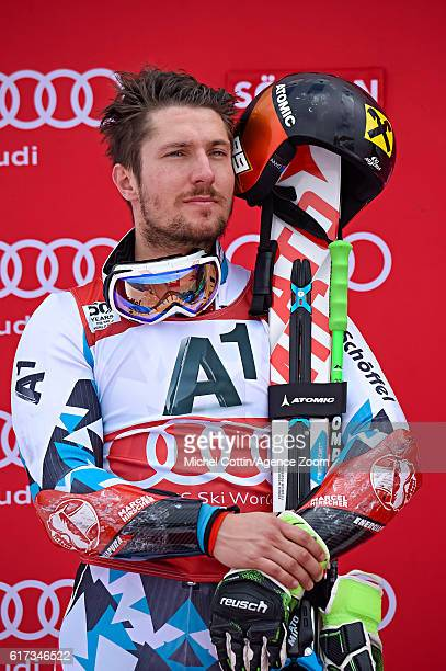 Marcel Hirscher of Austria takes 2nd place during the Audi FIS Alpine Ski World Cup Men's Giant Slalom on October 23 2016 in Soelden Austria