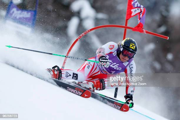 Marcel Hirscher of Austria takes 2nd place during the Audi FIS Alpine Ski World Cup Men's Giant Slalom on January 29 2010 in Kranjska Gora Slovenia