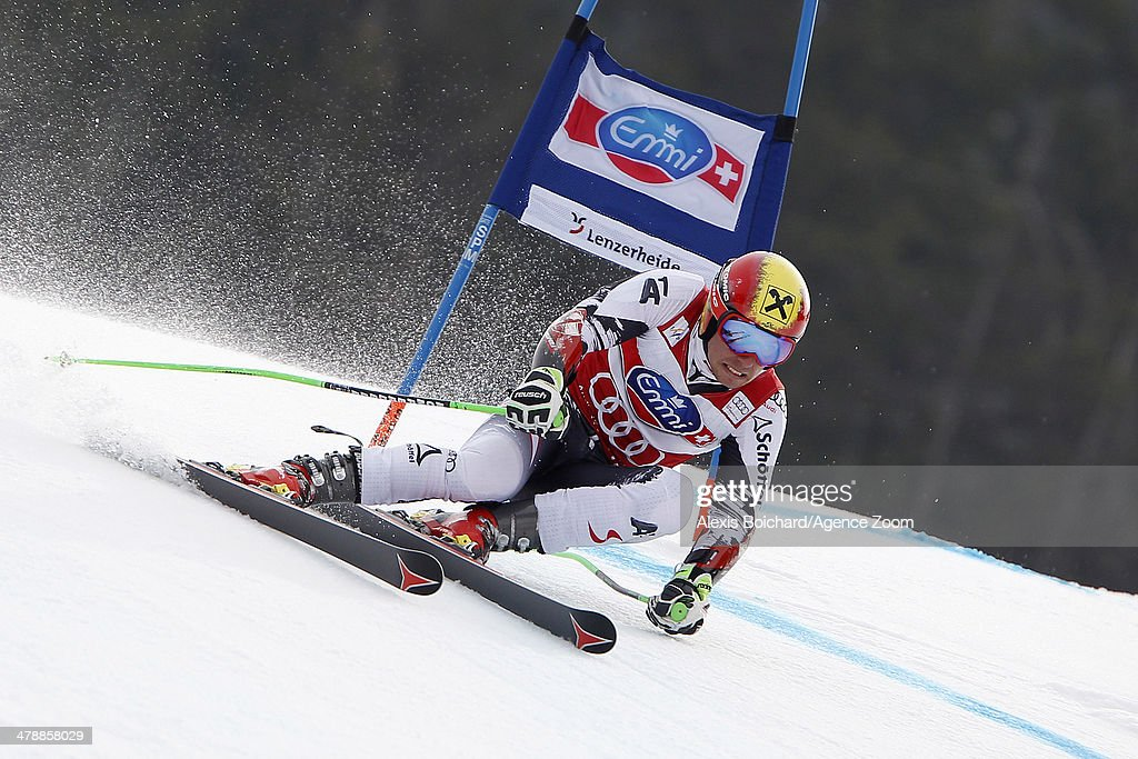 <a gi-track='captionPersonalityLinkClicked' href=/galleries/search?phrase=Marcel+Hirscher&family=editorial&specificpeople=4784559 ng-click='$event.stopPropagation()'>Marcel Hirscher</a> of Austria takes 2nd place in the overall giant slalom World Cup during the Audi FIS Alpine Ski World Cup Finals Men's Giant Slalom on March 15, 2014 in Lenzerheide, Switzerland.