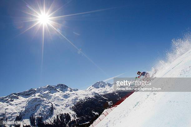 Marcel Hirscher of Austria takes 2nd place in the race and 2nd place in the overall slalom standings during the Audi FIS Alpine Ski World Cup Finals...