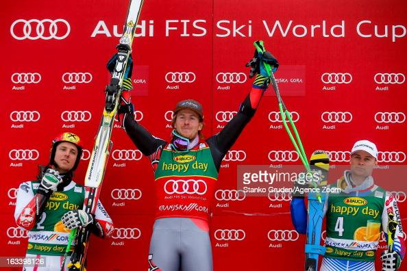 Marcel Hirscher of Austria takes 2nd place Ted Ligety of the USA takes 1st placeAlexis Pinturault of France takes 3rd place during the Audi FIS...