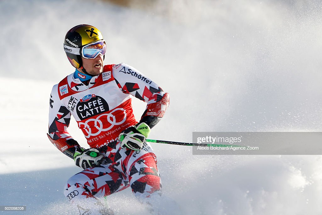 <a gi-track='captionPersonalityLinkClicked' href=/galleries/search?phrase=Marcel+Hirscher&family=editorial&specificpeople=4784559 ng-click='$event.stopPropagation()'>Marcel Hirscher</a> of Austria takes the 1st place during the Audi FIS Alpine Ski World Cup Men's Giant Slalom on December 20, 2015 in Alta Badia, Italy.