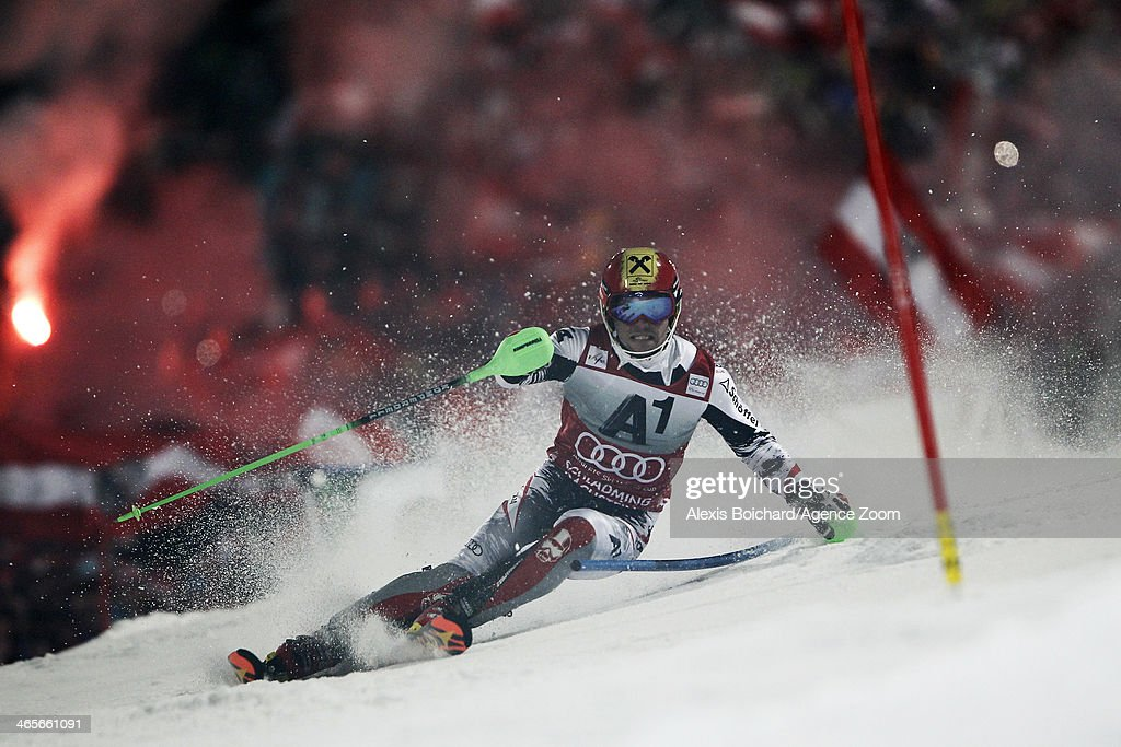 Marcel Hirscher of Austria takes the 2nd place during the Audi FIS Alpine Ski World Cup Men's Slalom on January 28 2014 in Schladming Austria