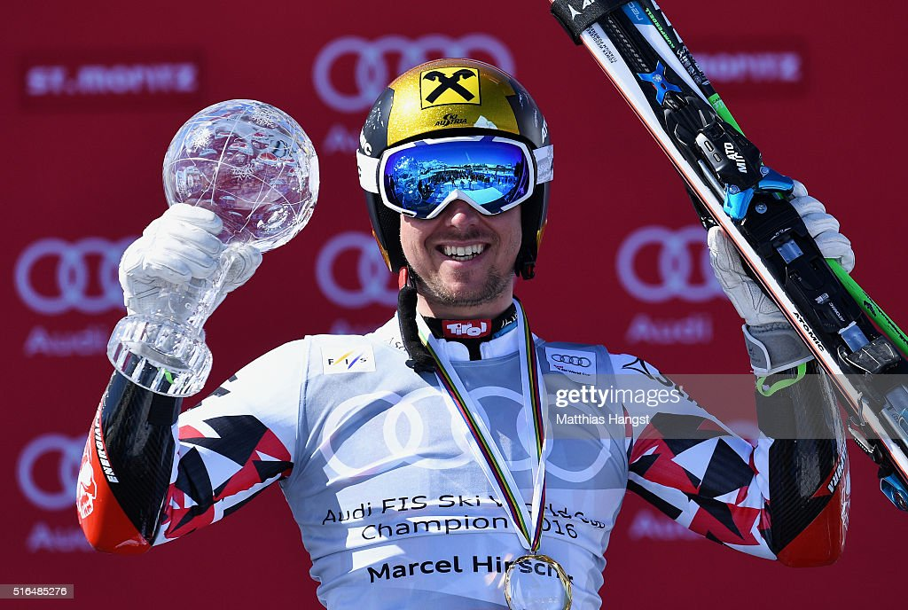<a gi-track='captionPersonalityLinkClicked' href=/galleries/search?phrase=Marcel+Hirscher&family=editorial&specificpeople=4784559 ng-click='$event.stopPropagation()'>Marcel Hirscher</a> of Austria wins the giant slalom crystal globe during the Audi FIS Alpine Ski World Cup Finals Men's Giant Slalom on March 19, 2016 in St Moritz, Switzerland.