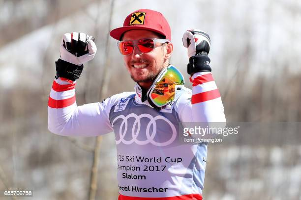 Marcel Hirscher of Austria wins the globe in the overall standings in the men's Slalom during the 2017 Audi FIS Ski World Cup Finals at Aspen...