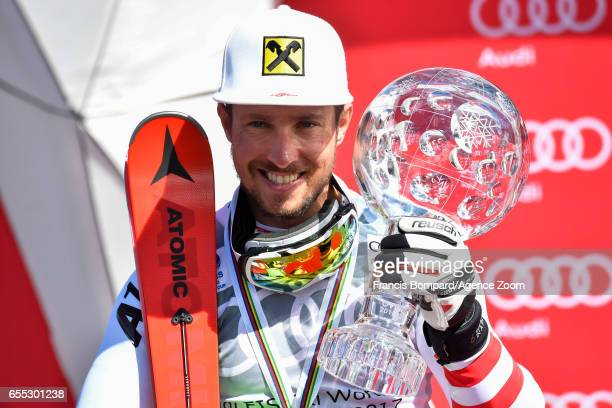 Marcel Hirscher of Austria wins the globe in the overall standings during the Audi FIS Alpine Ski World Cup Finals on March 19 2017 in Aspen Colorado