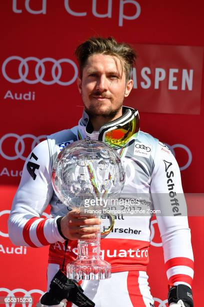 Marcel Hirscher of Austria wins the globe in the overall standings during the Audi FIS Alpine Ski World Cup Finals Men's on March 19 2017 in Aspen...