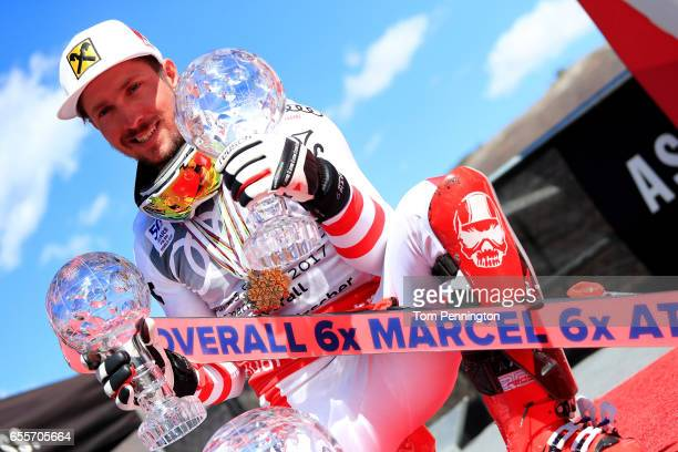 Marcel Hirscher of Austria wins the globe in the overall standings during the Audi FIS Alpine Ski World Cup Finals at Aspen Mountain on March 19 2017...