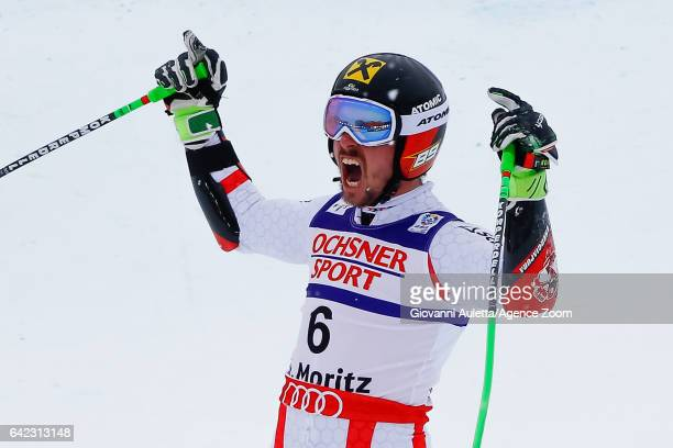 Marcel Hirscher of Austria wins the gold medal during the FIS Alpine Ski World Championships Men's Giant Slalom on February 17 2017 in St Moritz...