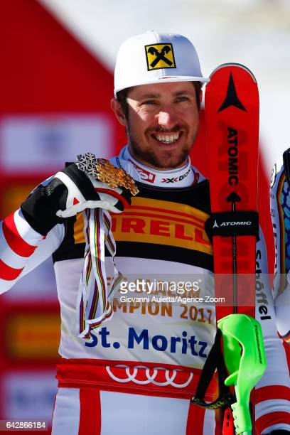 Marcel Hirscher of Austria wins the gold medal during the FIS Alpine Ski World Championships Men's Slalom on February 19 2017 in St Moritz Switzerland