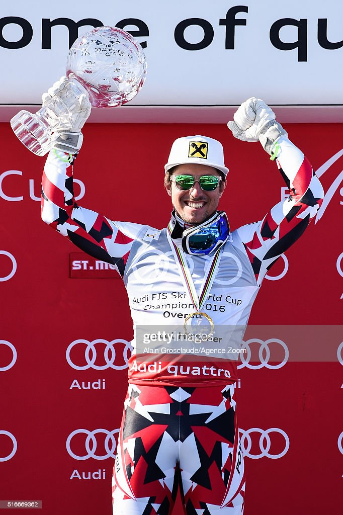 <a gi-track='captionPersonalityLinkClicked' href=/galleries/search?phrase=Marcel+Hirscher&family=editorial&specificpeople=4784559 ng-click='$event.stopPropagation()'>Marcel Hirscher</a> of Austria wins the Overall World Cup Crystal Globe during the Audi FIS Alpine Ski World Cup Finals Men's Slalom and Women's Giant Slalom on March 20, 2016 in St. Moritz, Switzerland.