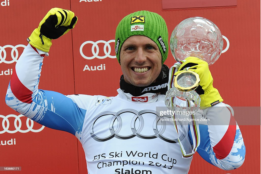 <a gi-track='captionPersonalityLinkClicked' href=/galleries/search?phrase=Marcel+Hirscher&family=editorial&specificpeople=4784559 ng-click='$event.stopPropagation()'>Marcel Hirscher</a> of Austria wins the Overall World Cup during the Audi FIS Alpine Ski World Cup Finals March 17, 2013 in Lenzerheide, Switzerland.