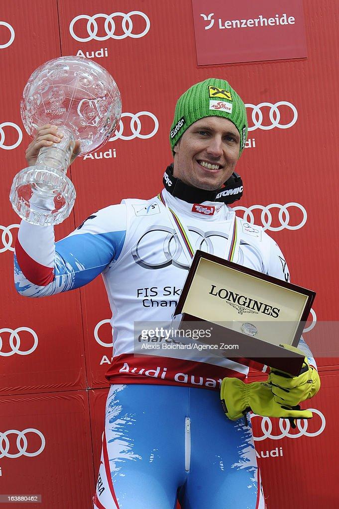 Marcel Hirscher of Austria wins the Overall World Cup during the Audi FIS Alpine Ski World Cup Finals March 17, 2013 in Lenzerheide, Switzerland.