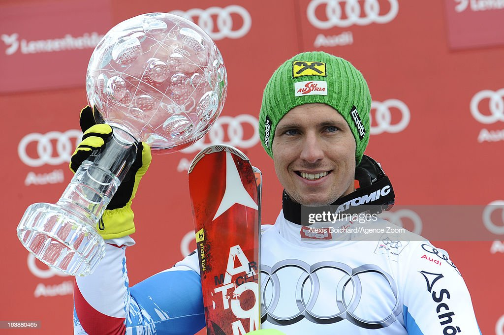 Marcel Hirscher of Austria wins the Overall World Cup during the Audi FIS Alpine Ski World Cup Finals March 17, 2013 in Lenzerheide, Switzerland.