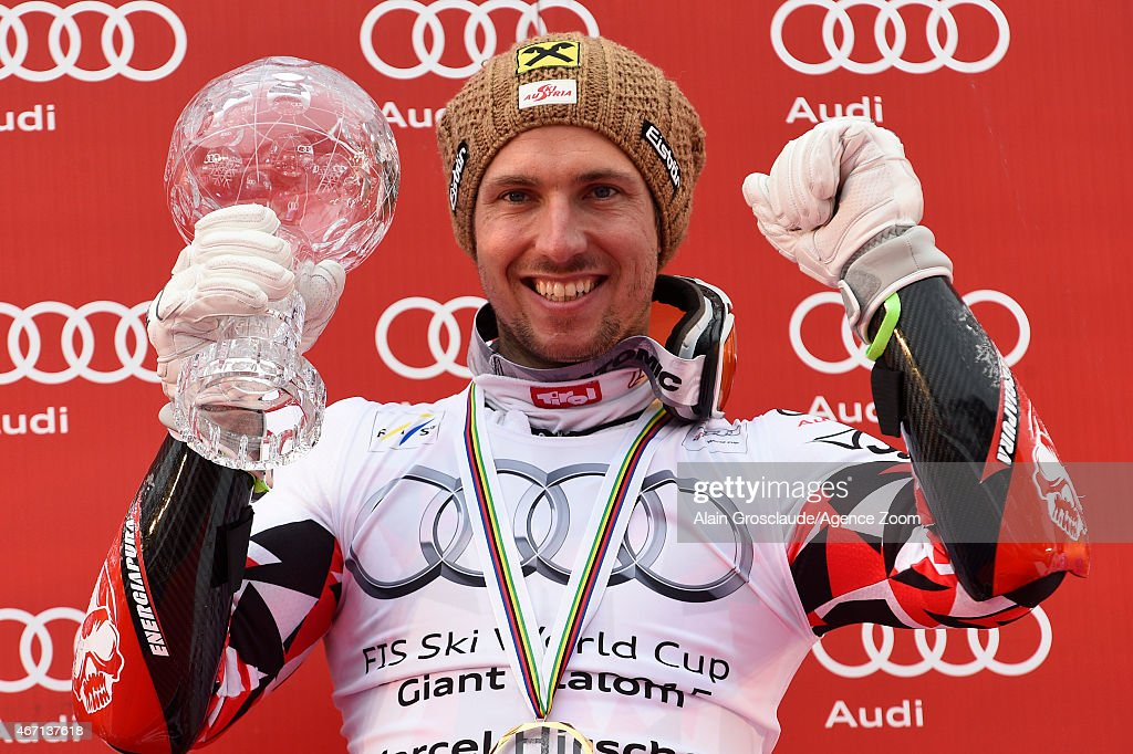 Marcel Hirscher of Austria wins the overall World Cup Giant Slalom globe during the Audi FIS Alpine Ski World Cup Finals Men's Giant Slalom on March...