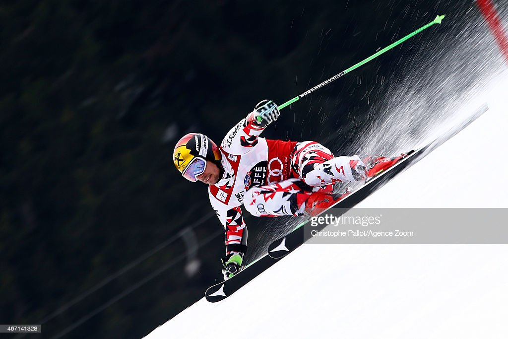 <a gi-track='captionPersonalityLinkClicked' href=/galleries/search?phrase=Marcel+Hirscher&family=editorial&specificpeople=4784559 ng-click='$event.stopPropagation()'>Marcel Hirscher</a> of Austria wins the overall World Cup Giant Slalom globe during the Audi FIS Alpine Ski World Cup Finals Men's Giant Slalom on March 21, 2015 in Meribel, France.