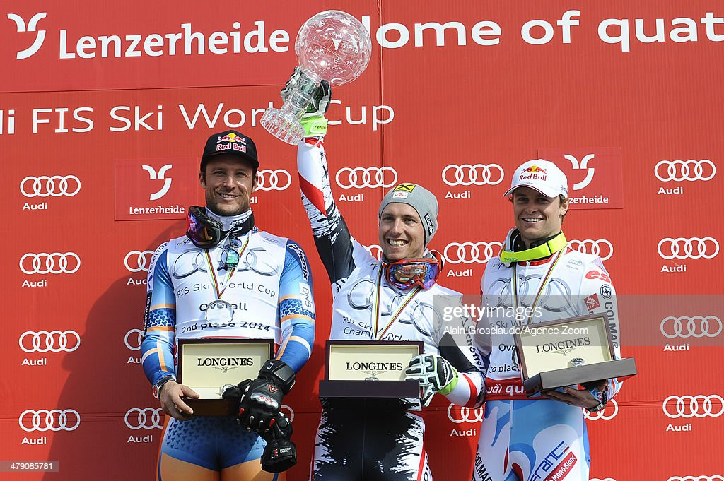 Marcel Hirscher of Austria wins the overall World Cup globe, Aksel Lund Svindal of Norway comes second in the overall World Cup, Alexis Pinturault of France comes second in the overall World Cup during the Audi FIS Alpine Ski World Cup Finals on March 16, 2014 in Lenzerheide, Switzerland.