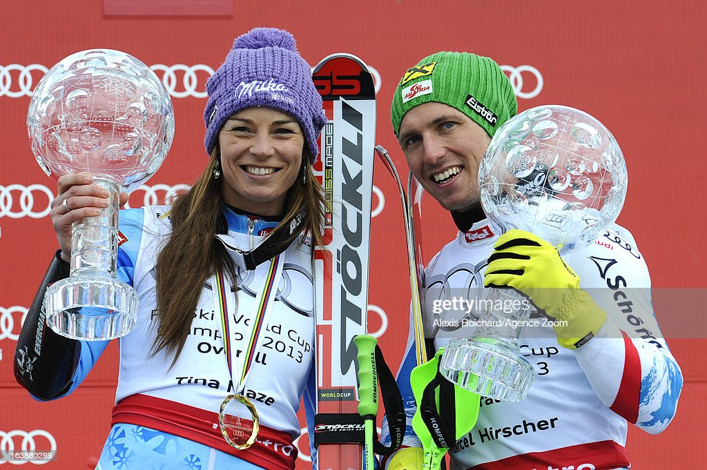 Marcel Hirscher of Austria,Tina Maze of Slovenia wins the Overall World Cup during the Audi FIS Alpine Ski World Cup Finals March 17, 2013 in Lenzerheide, Switzerland.