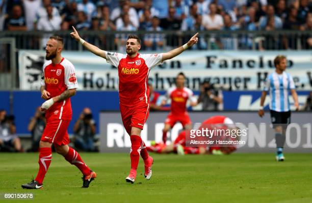 Marcel Hofrath of Jahn Regensburg celebrates the opening goal during the Second Bundesliga Playoff second leg match betweenTSV 1860 Muenchen and Jahn...