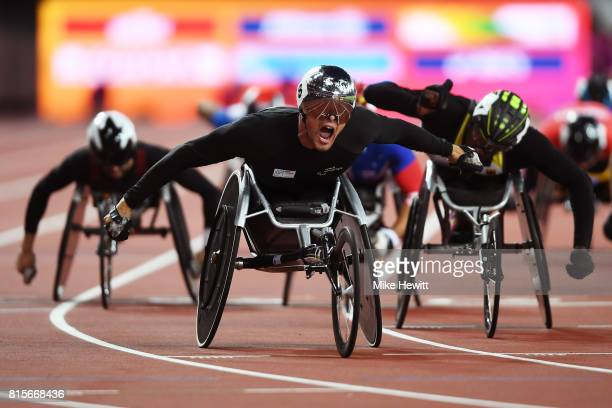Marcel Hug of Switzerland celebrates as he crosses the line to win the Men's 1500m T54 Final during day three of the IPC World ParaAthletics...