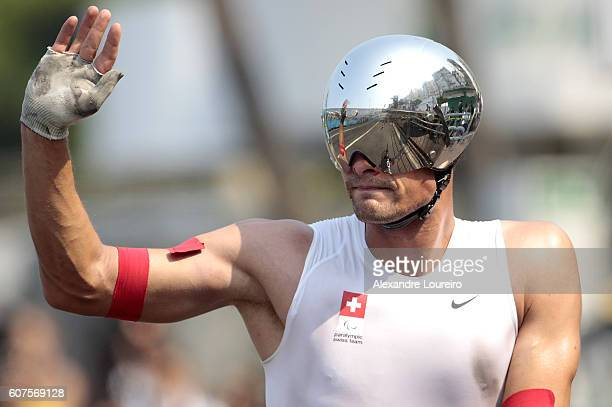 Marcel Hug of Switzerland celebrates the victory in the Men's Marathon T54 at Fort Copacabana on day 11 of the Rio 2016 Paralympic Games at on...