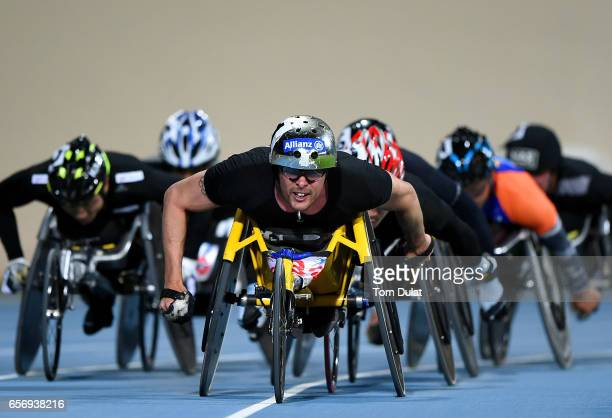 Marcel Hug of Switzerland competes in 5000m Wheelchair Men's final during the 9th Fazza International IPC Athletics Grand Prix Competition World Para...