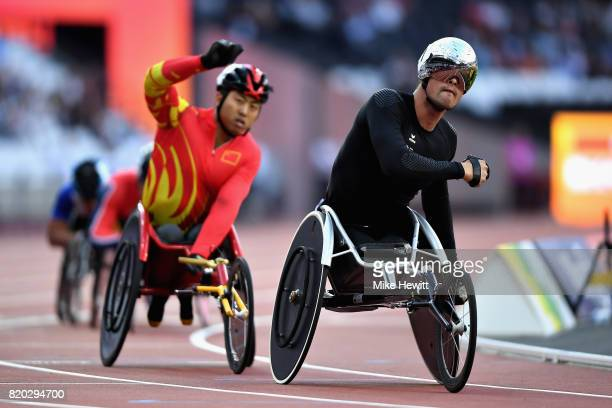 Marcel Hug of Switzerland competes in the Mens 800m T54 during day eight of the IPC World ParaAthletics Championships 2017 at London Stadium on July...