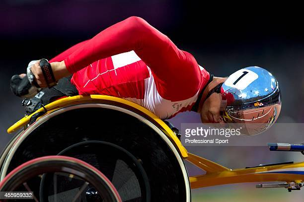 Marcel Hug of Switzerland competes in the Men's 800m T54 Final on day 8 of the London 2012 Paralympic Games at Olympic Stadium on September 6 2012 in...