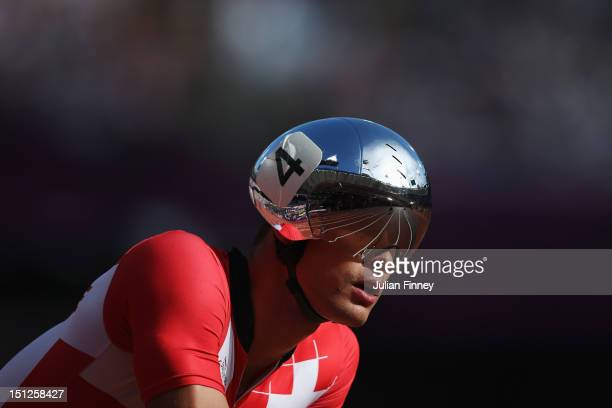 Marcel Hug of Switzerland competes in the Men's 800m — T54 round 1 heat 2 on day 7 of the London 2012 Paralympic Games at Olympic Stadium on...