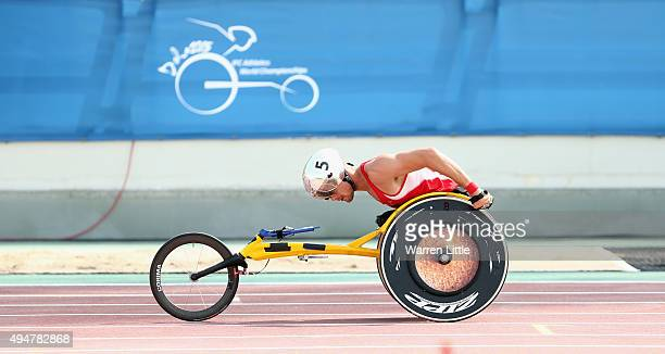 Marcel Hug of Switzerland competes in the men's 800m T54 semifinals during the Morning Session on Day Eight of the IPC Athletics World Championships...