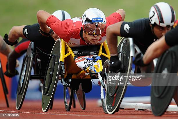 Marcel Hug of Switzerland in the 1500m Men T54 during the IPC Grand Prix Final at Alexander Stadium on June 29 2013 in Birmingham England
