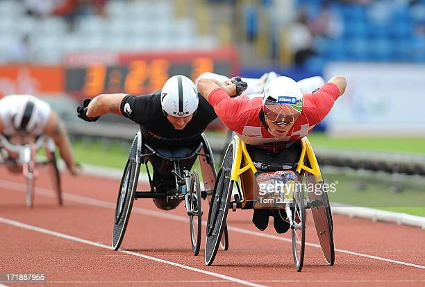 Marcel Hug of Switzerland on his way to winning Men's 1500m race during the IPC Grand Prix Final at Alexander Stadium on June 29 2013 in Birmingham...