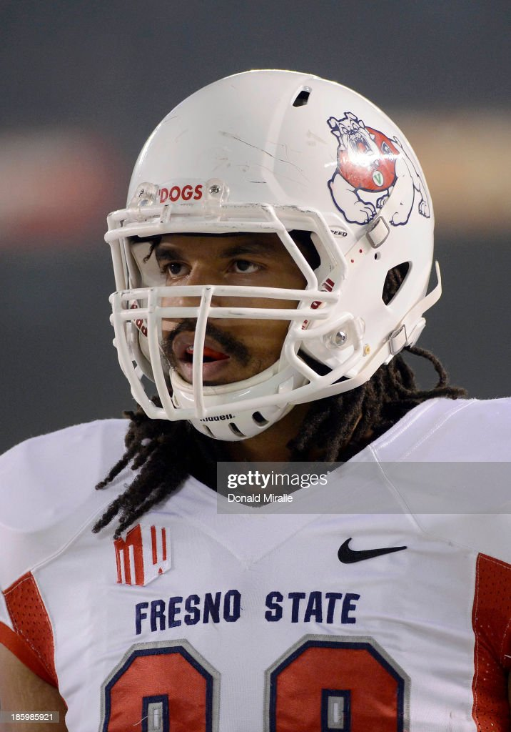 Marcel Jensen #89 of the Fresno State Bulldogs looks on from the field against the San Diego State Aztecs during their game on October 26, 2013 at Qualcomm Stadium in San Diego, California.