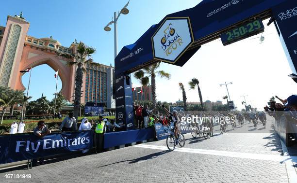 Marcel Kitel of Germany and Team GirantShimano crosses the line to win stage two of the 2014 Tour of Dubai on February 6 2014 in Dubai United Arab...