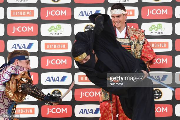 Marcel KITTEL and Warren BARGUIL during Samurai vs Ninja combat demonstration at the 5th edition of TDF Saitama Criterium 2017 Media Day On Friday 3...