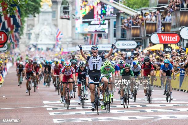 Marcel Kittel celebrates winning Stage 3 of the Tour De France in London